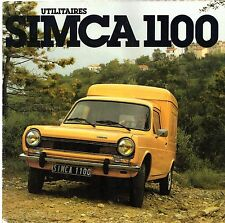 Simca 1100 Commercials 1978-79 French Market Sales Brochure Van Pick-Up High Top