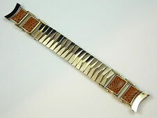 """Vintage NOS Flex Let Expanding Lizard watch band Gold and Honey 19mm curved 3/4"""""""
