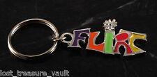 Vintage Colorful Flirt Key Chain 1970's Hippie Era Silver Tone Pot Metal Key Fob