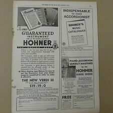 vintage advertise HOHNER PIANO ACCORDION, the new verdi III, 1930s