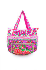 Rose Garden Tribal Tote Bag Ethnic Hmong Embroidered Fair Trade Thailand Tribe