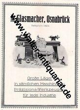 A.Glasmacher Osnabrück Maschinen Drehbank Große Werbeanzeige anno 1924 Reklame