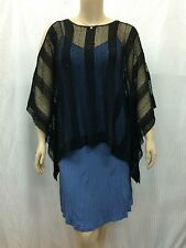 Choccolat NZ Designer Size 16 Black Mesh Evening Top + Sequins Cotton Silk