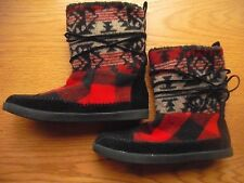 Womens/Teens Steve Madden Girl Boots Jackmen Native American Red Black Sz:7M