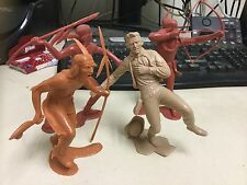 """VINTAGE 1964 MARX PLASTIC COWBOYS AND INDIANS SET OF 4  5 1/2"""" TALL"""