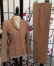 AUTH VERTIGO PARIS WOM SZ M/6 MINI-PLAID STRETCH 2 PC PANTSUIT BLAZER + PANTS
