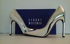Stuart Weitzman Queen Silver Mirror Leather Women's High Heels Pumps Size 7.5 M