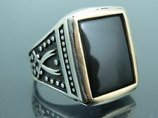 Turkish Handmade Ottoman Style 925 Sterling Silver Onyx Stone Men's Ring Sz 9