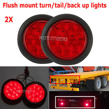 "Red 4"" 12 LED Round Truck Trailer Brake Stop Turn Tail Lights Lamp Waterproof 2X"