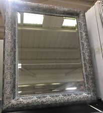 LARGE Grey Washed Metal Moroccan ESK Cut Out Filigree Rectangle Wall Mirror NEW