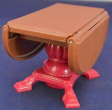 Brown Drop Leaf Kitchen or DiningTable w/Red Base Doll House Furniture Plastic