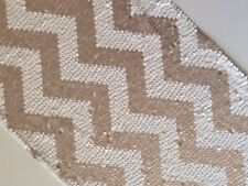 2.75m*30cm Chevron Champagne Gold and White Sequin Table Runner for Wedding