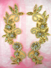0183 Appliques Mirror Pair Holographic Sequin Beaded Gold Silver 10""