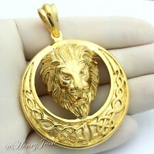 MEN's Stainless Steel Gold HEAVY LION KING FACE 3D Charm Pendant*GP49