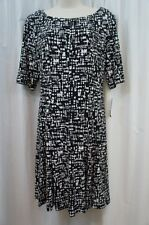 Connected Petite Dress Sz 10P Black Multi Jersey Casual Business Work Dinner