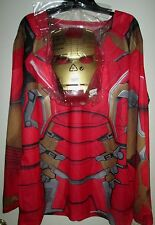 Marvel AVENGERS Age Ultron ADULT IRON MAN Costume SHIRT & MASK L New 2pc MEN