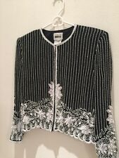 Women Long Sleeves Gala Jacket Black And White Beads S Party Leslie Fay