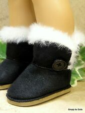 "BLACK Fur-Trim EWE Button DOLL BOOTS SHOES fits 18"" AMERICAN GIRL Doll Clothes"
