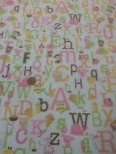 100% Cotton Quilt Fabric By Half Mtr Sweet Baby Girl ABC White Multi Riley Blake