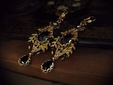 Vintage Gold Leaf Jet Black & Peridot Crystal Drop Earrings Miriam Haskell Style