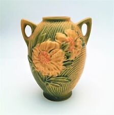 1940's Roseville Pottery Vase in the Peony Pattern, Yellow Variation, Style 58-6