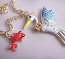 "Betsey Johnson WILD LIFE GOLD PLATED 30"" Bird Sea Gull RED Goldfish Necklace"