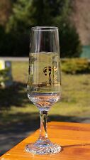 "1988 Winter Olympic Torch Drinking Glass 8 1/8"" Tall Stemware Gold Rim Detailing"