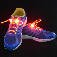 1 Pair Red LED Light Up Flashing Luminous Nylon Glow Strap Shoe Skating Parties