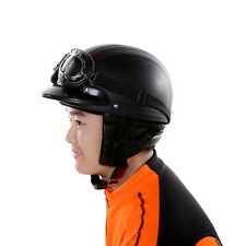 Leather Motorcycle Helmet Capacete Open Face Half Helmets Goggles Visor One-size