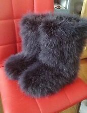 Women Winter Long Bootleg Eskimo Ostrich Hair Fluffy Boots Sexy Color Furry Boot