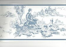 Blue on Soft White Colonial Toile Wallpaper Border CTG11902B