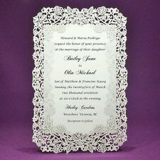Rose Vine Laser Cut Wedding Invitations, pack of 25 -  Ivory or White Color