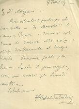 Lettera Autografa del Chimico Roberto Salvadori Professore della Sapienza 1929