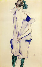 Egon Schiele Reproductions: Girl in Blue Dress and Stockings  - Fine Art Print