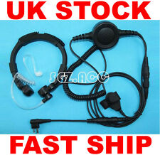 Military Tactical Throat Mic Headset/Earpiece For Motorola Radio Walkie Talkie