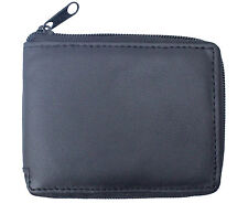 Mens Full Zip Around Genuine Leather Multi Card ID Coin Pocket Wallet Purse 1184