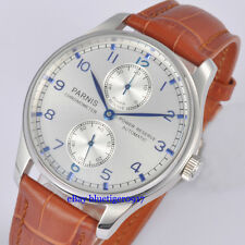 Parnis 43mm Silver Dial Seagull Power Reserve Movement Men's Automatic Watch