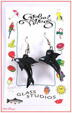 GLOBAL VILLAGE GLASS STUDIOS. BLACK & WHITE ORCA KILLER WHALE EARRINGS.