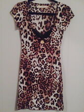 WHEELS AND DOLLBABY LEOPARD PRINT BODYCON PEEKABOO WIGGLE DRESS PINUP SIZE 2 10