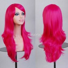 US HOT Wigs Long Layer Wavy Hair Full Wig Cosplay Costume Amine Wig Hot Pink