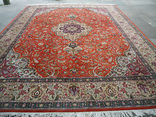 "Fine OLD HAND MADE Persian Oriental Wool Oranges Reds Carpet 396x302cm 13'1""x10'"