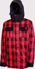 New 2014 Mens Nitro Greaser Snowboard Jacket Large Red Plaid Black