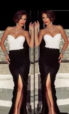 NEW Elegant Black White Split Evening Dress Size UK L 12-14