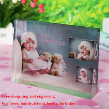 """5"""" Personalised Photo Frame Crystal Glass Color Printing Birthday Gift"""