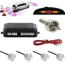 Car 4 Silver Sensors LED Display  Sound Alert Alarm Radar System Parking Sensor
