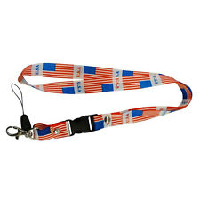 USA COUNTRY FLAG LANYARD KEYCHAIN PASSHOLDER .. NEW