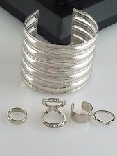 Silver Cuff and Metal Crystal Rings Set