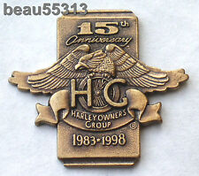 1983-1998 HARLEY DAVIDSON OWNERS GROUP HOG 15th ANNIVERSARY MEMBER VEST PIN