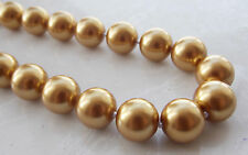 Fashion 12MM Deep Yellow South Sea Shell Pearl Round Beads Necklace 18'' F-04