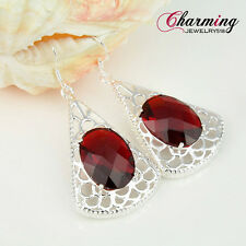 """Unique Fashion Fire Red Garnet Gems Silver Earrings For Women Party Gift 2 1/4"""""""